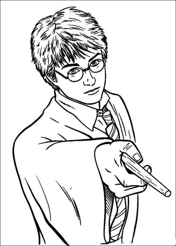 569x796 Harry Potter Holding A Magic Wand Coloring Pages