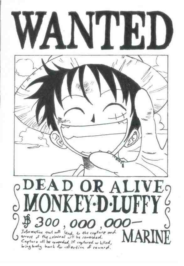 587x849 Luffy Wanted Poster Black And White Drinkeats.club