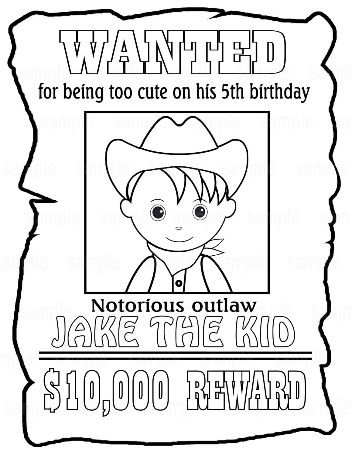 1159x1500 Personalized Printable Wanted Cowboy Poster Birthday Party Favor