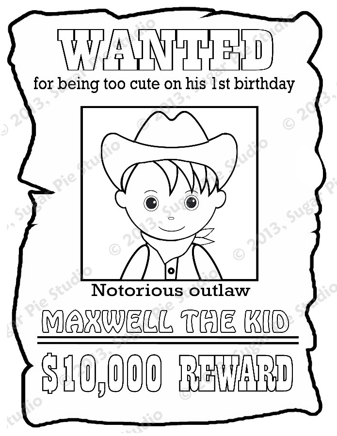 695x900 Personalized Printable Wanted Cowboy Poster Birthday Party