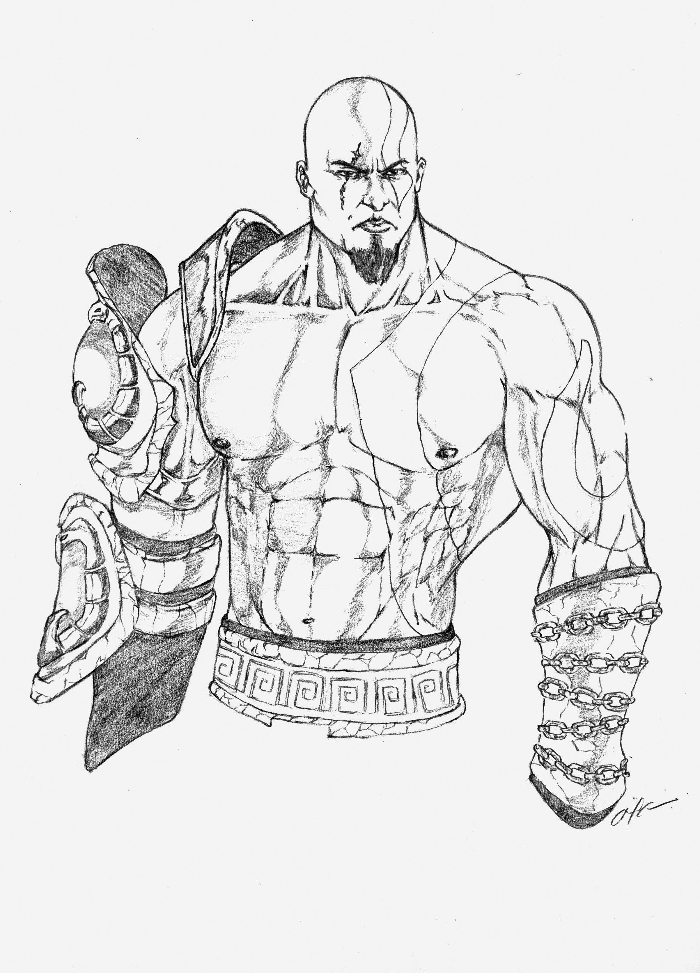 2405x3343 God Of War Sketch By Gabaroa