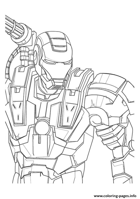 595x842 War Machine A4 Avengers Marvel Coloring Pages Printable