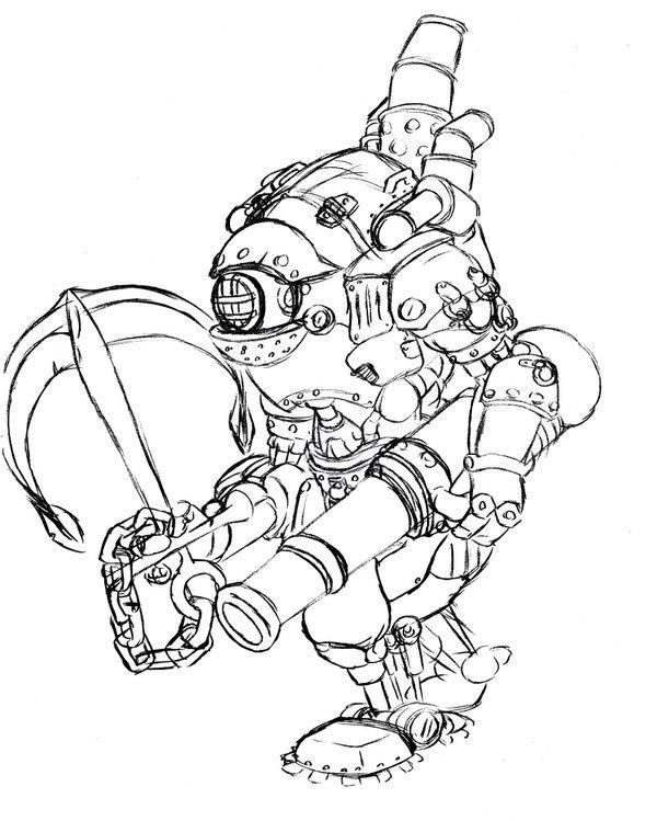 600x749 Warmachine Mariner Sketch By Brendankeeley