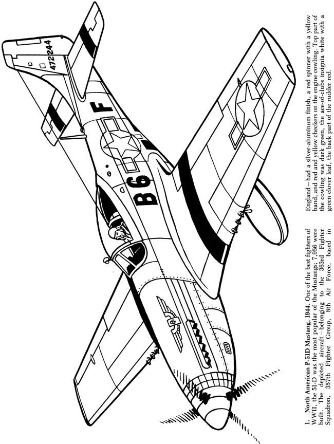 650x864 Airplanes Of The Second World War Coloring Book Dover Publications