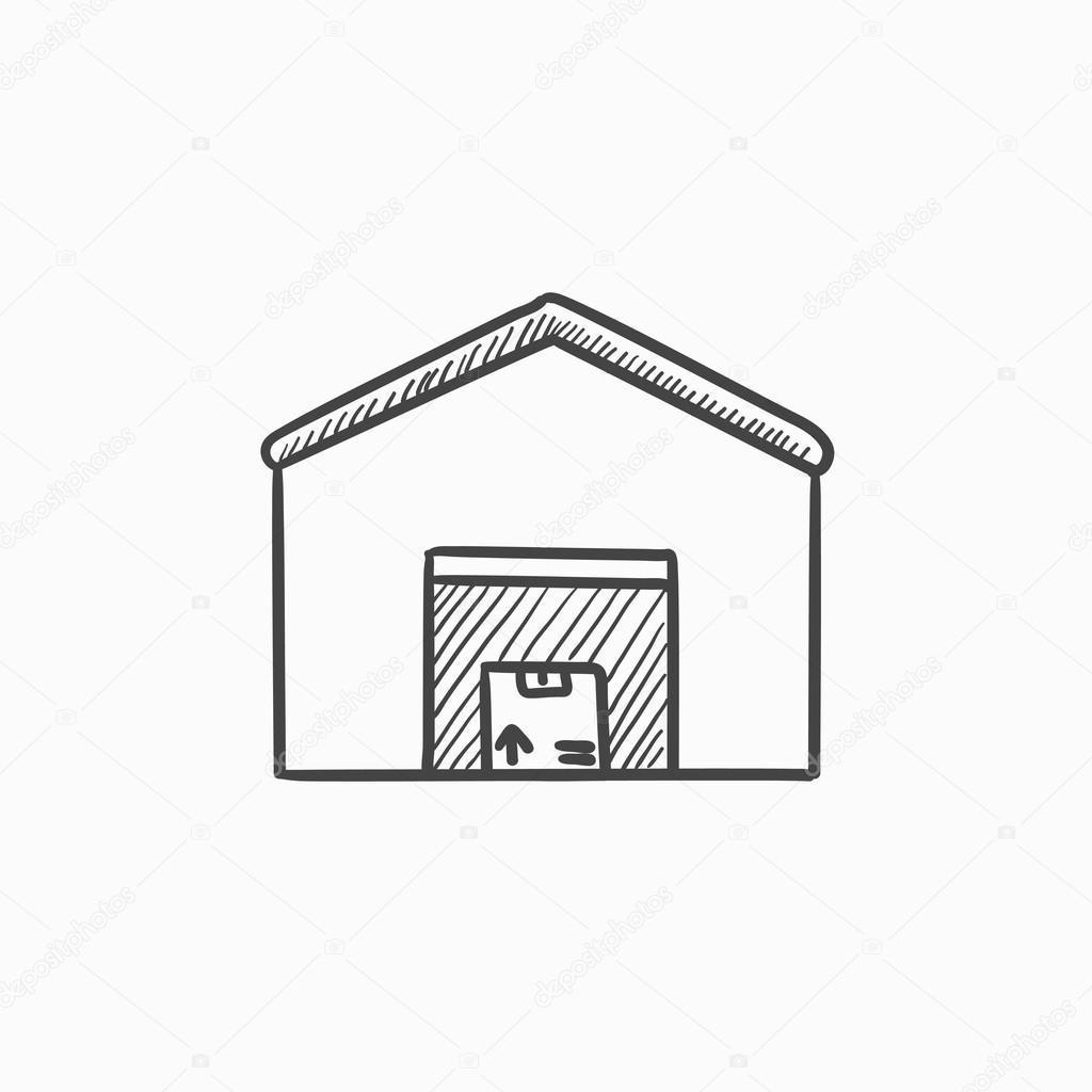 1024x1024 Warehouse Sketch Icon. Stock Vector Rastudio