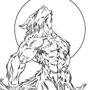 300x300 Werewolf, Howling Werewolf Picture Coloring Page Howling Werewolf