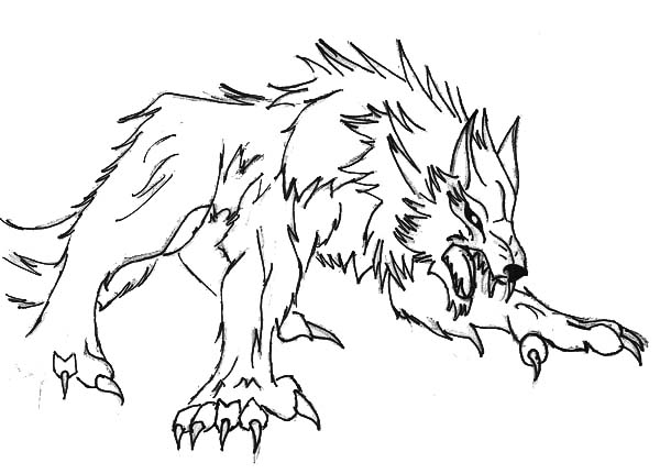 600x431 Werewolf Ready To Pounce Coloring Page Coloring Sun