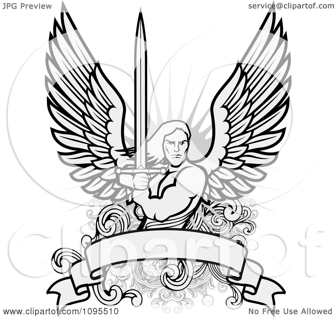 1080x1024 Clipart Male Angel Warrior Holding A Sword Over A Blank Banner