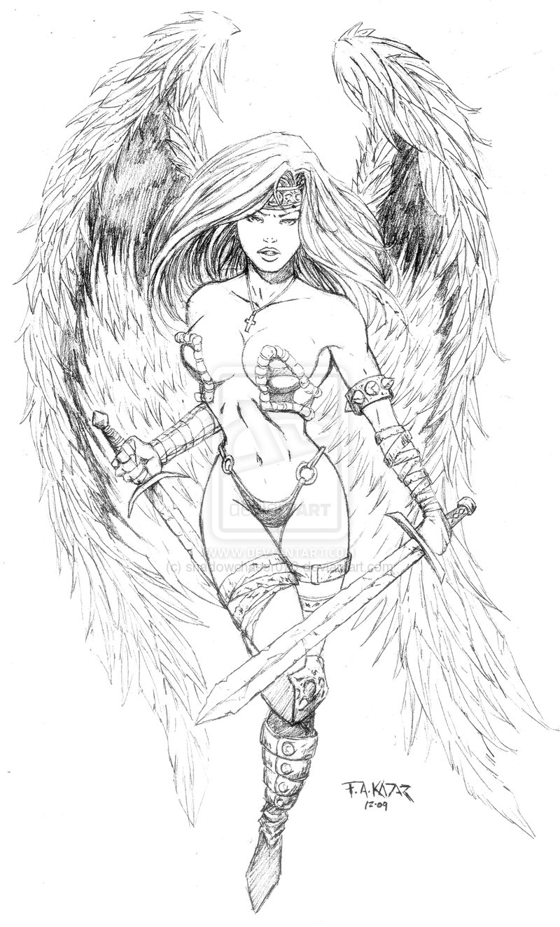 800x1325 Image Detail For Angel Warrior Tattoo Design By Frankakadar