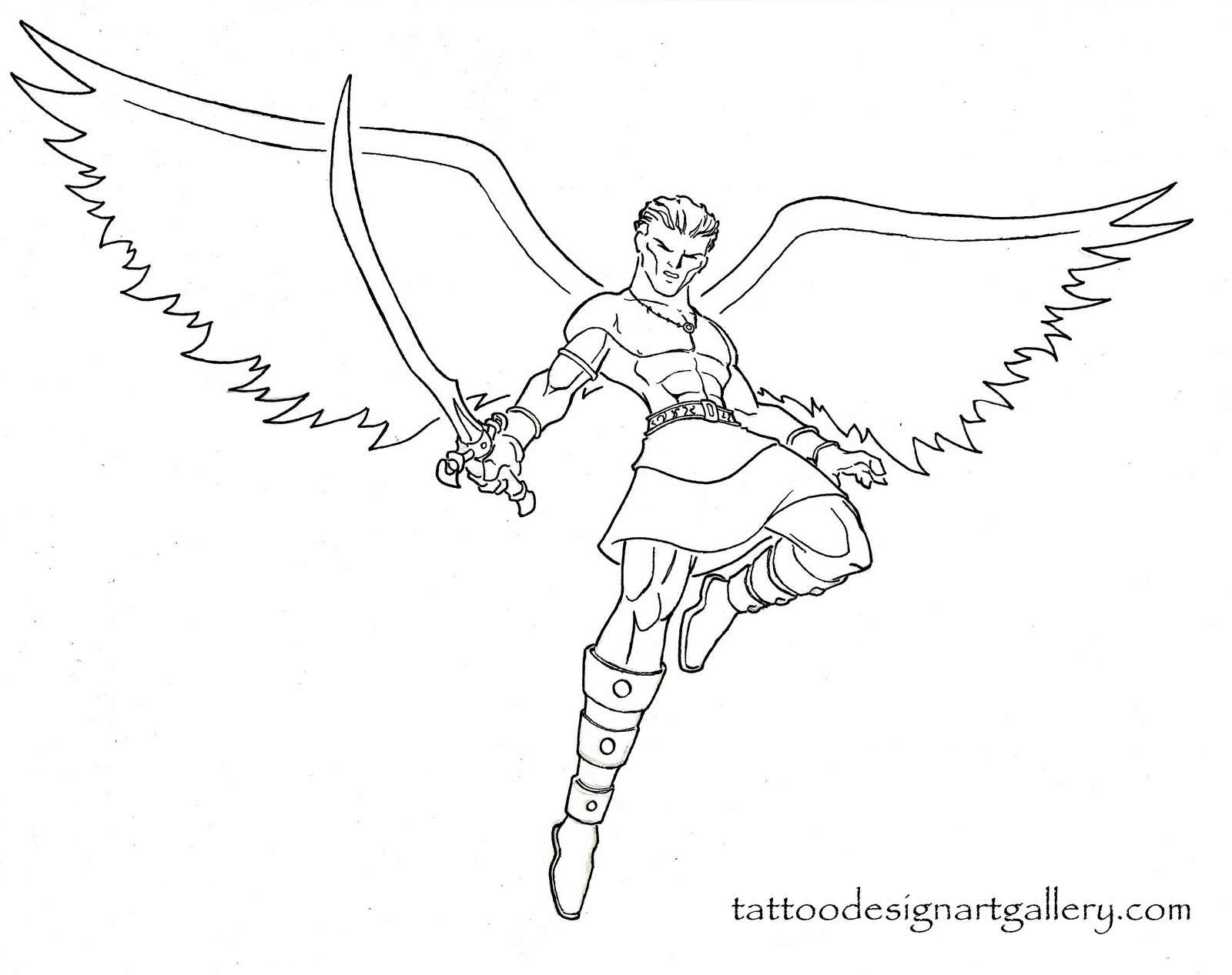 1600x1267 Angel Warrior Tattoo Design Sword Amp Sorcery Drawing Angel