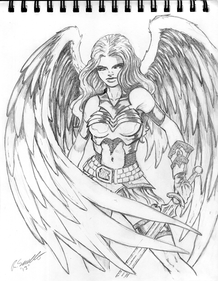 696x900 Angel Warrior By Pigbert