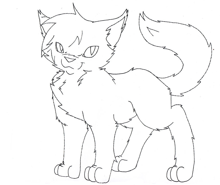 900x758 Warrior Cat Lineart By Thrushfeather