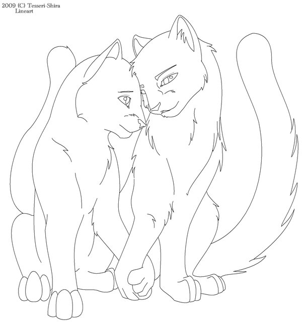 600x644 Warrior Cat Love Free Lineart By Tesseri