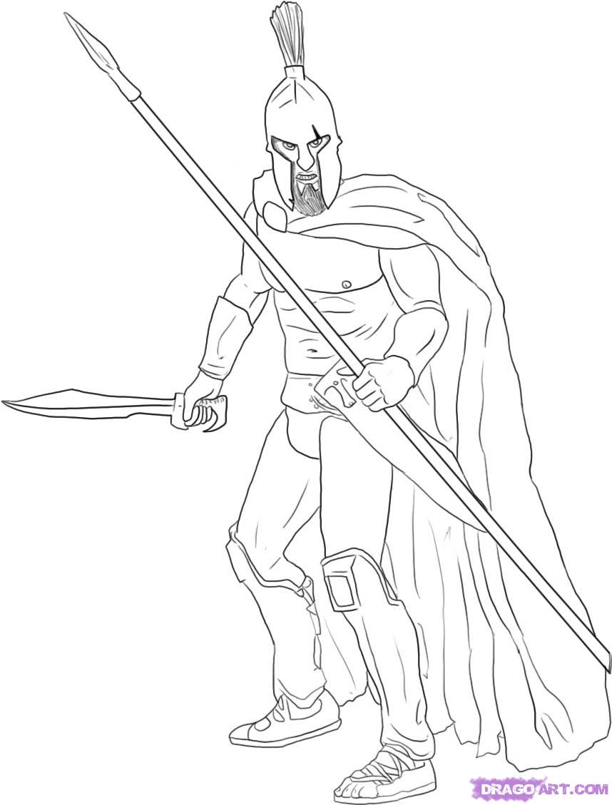 858x1129 How To Draw A Warrior Step By Figures Peopknmle Free Online