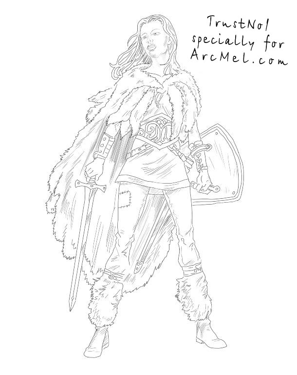 610x768 How To Draw A Warrior Step By Step