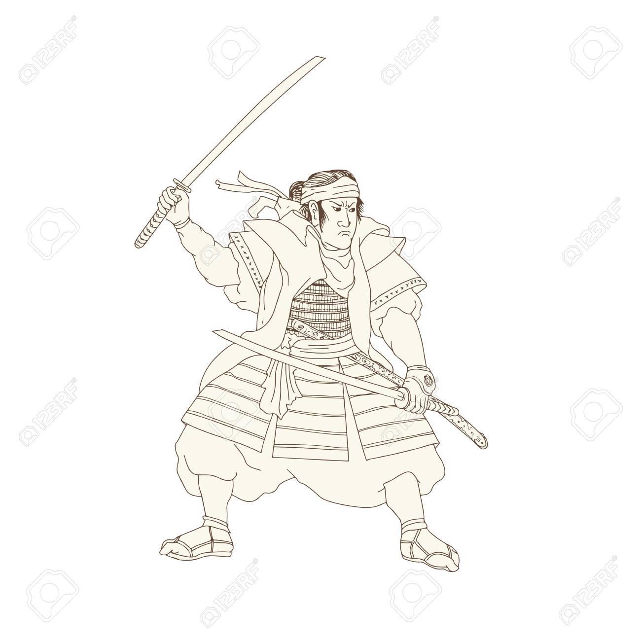 1300x1300 Woodblock Drawing Sketch Style Illustration Of Samurai Warrior