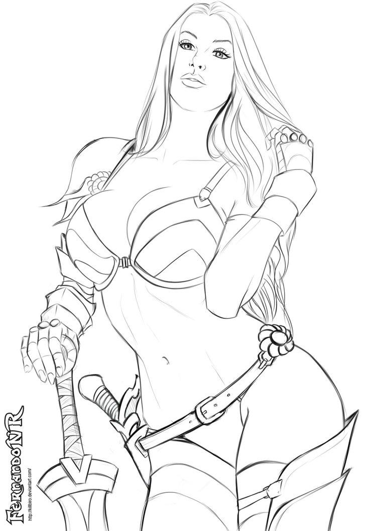 755x1059 Warrior Girl 3 Sketch By Killbiro