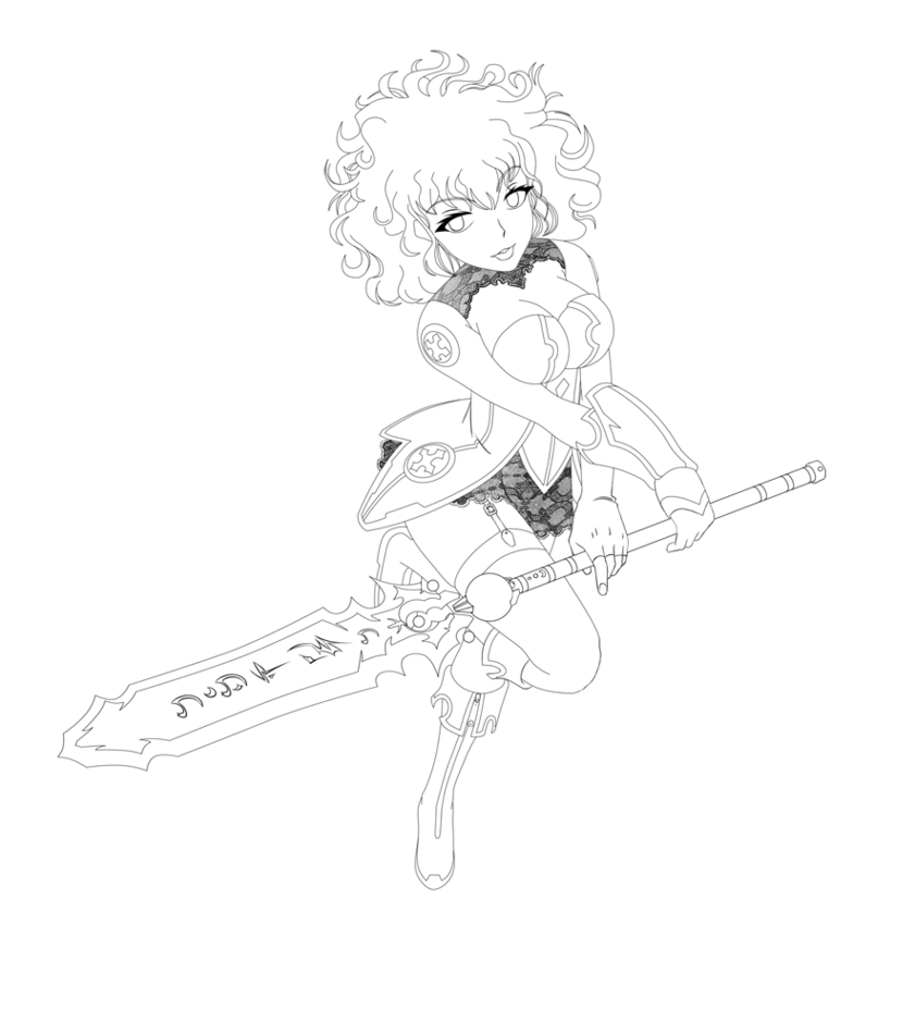 841x950 Warrior Girl Lineart By Pieterator