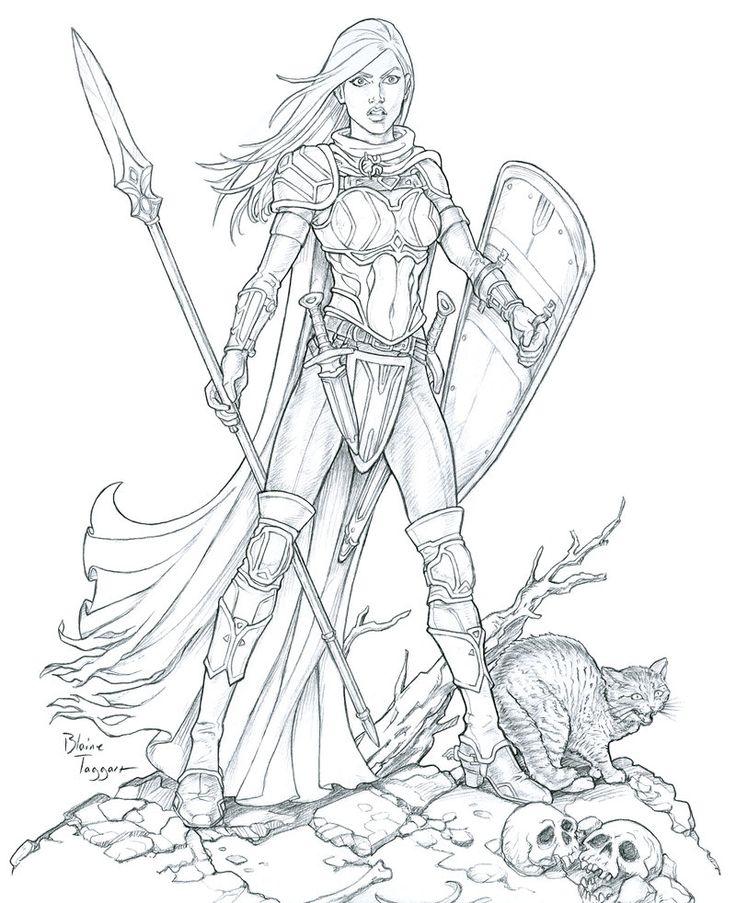 736x903 Cool Female Warrior Line Art