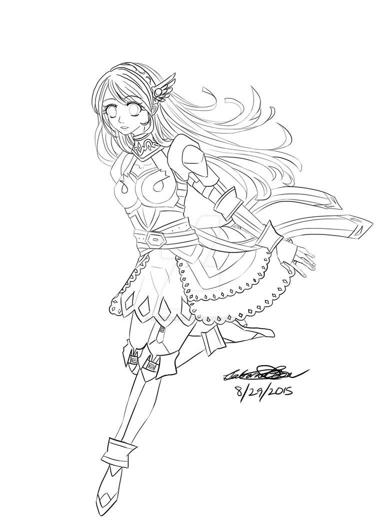 762x1048 Warrior Girl ( Line Art ) By Sabrinaheart