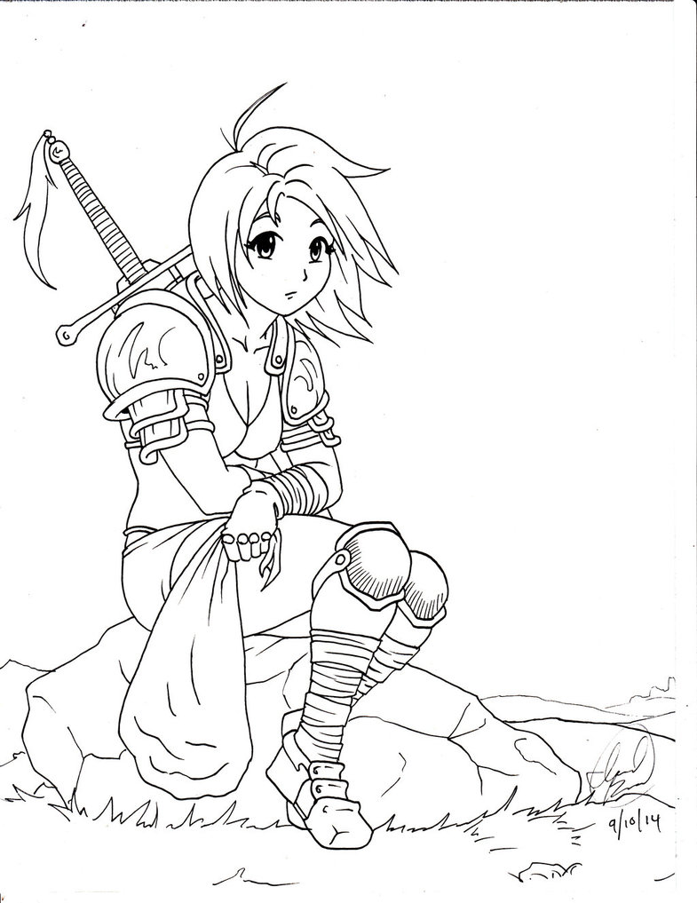 785x1017 Warrior Girl A Rock By Israel92