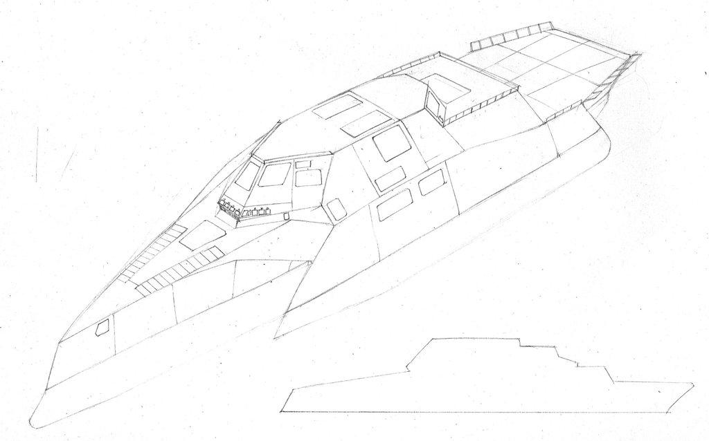 1024x638 Modern Trimaran Warship Sketch 2 By Curoae
