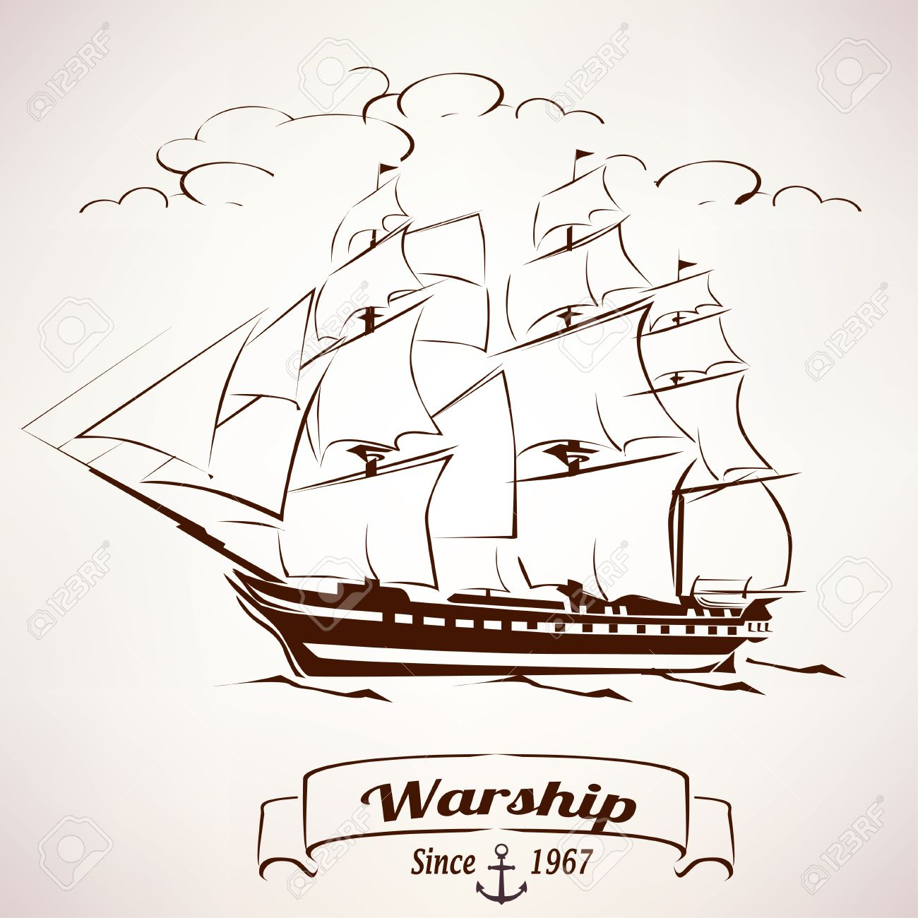 1300x1300 Sailer, Vintage Wooden Ship Vector Sketch Royalty Free Cliparts