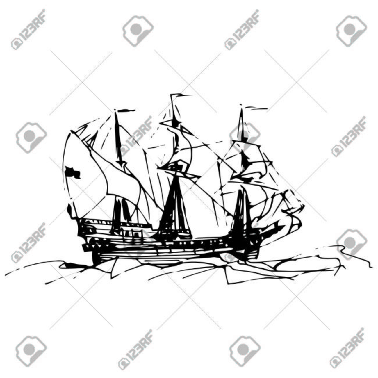 1300x1300 Sailing Galleon Ship In The Ocean In Ink Line Style. Vector Hand