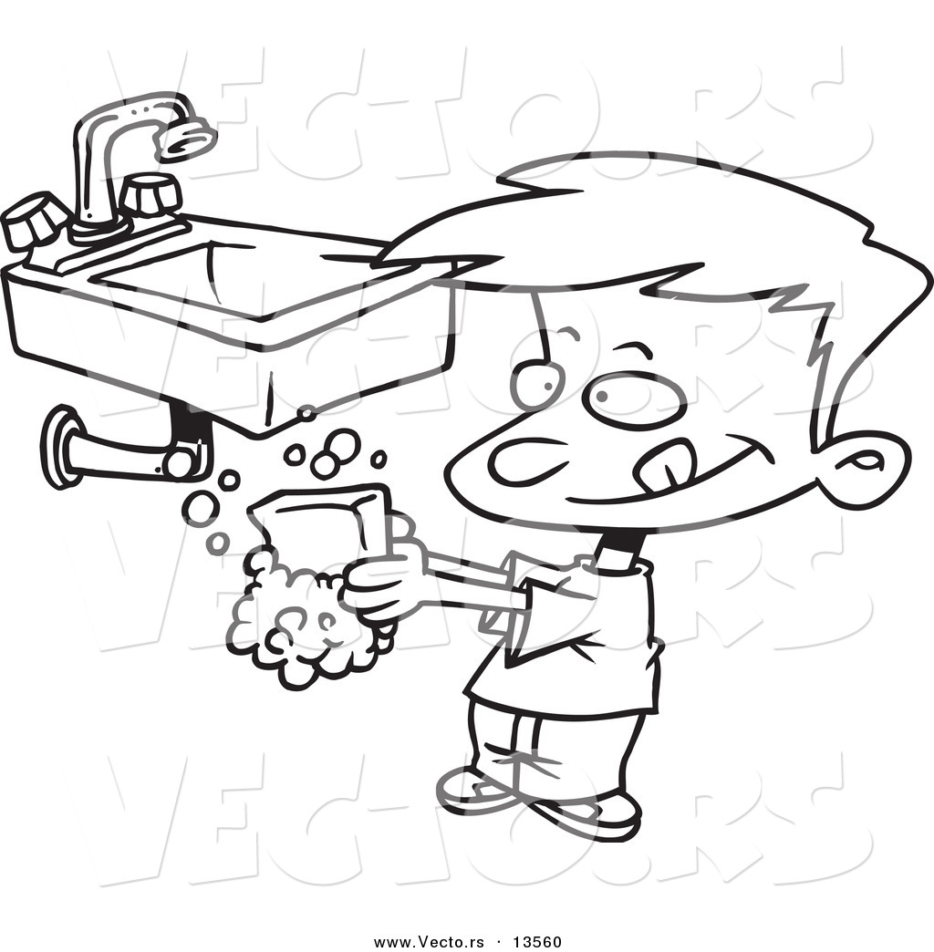 1024x1044 Vector Of A Cartoon Boy Washing His Hands With Soap
