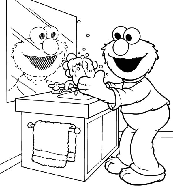 600x655 Elmo Doing Hand Washing Coloring Pages