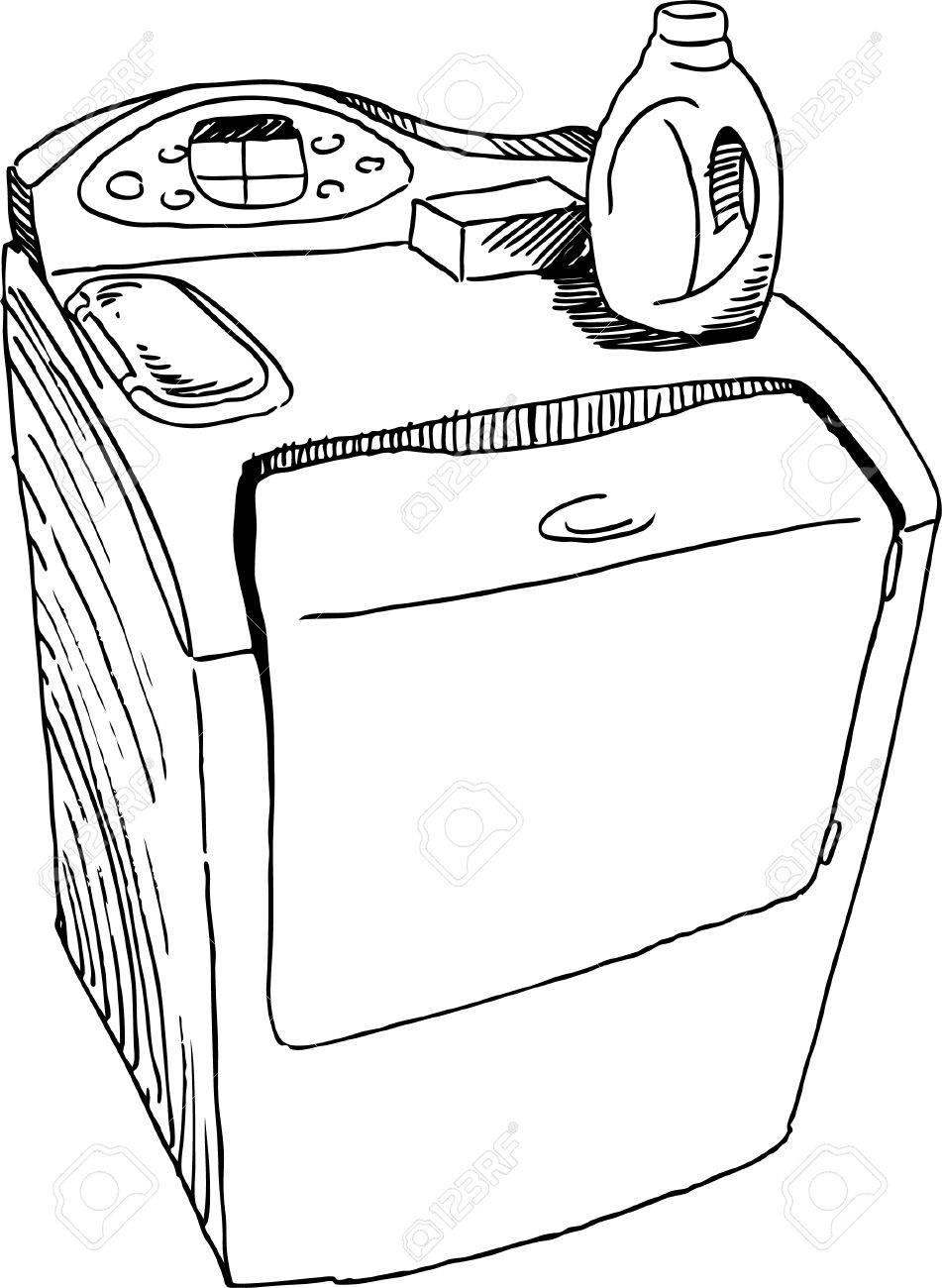 951x1300 Washing Machine Drawing Royalty Free Cliparts, Vectors, And Stock