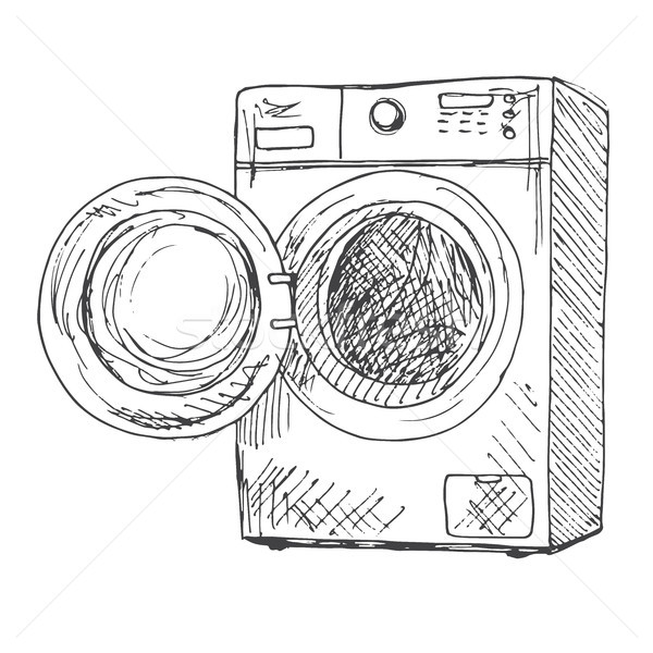 600x600 Washing Machine Isolated On White Background. Vector Illustration