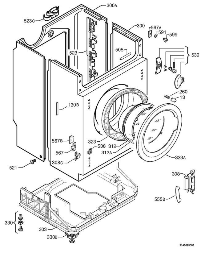653x820 Zanussi Zjd12191 (91460120000) Washing Machine Housing Spare Parts