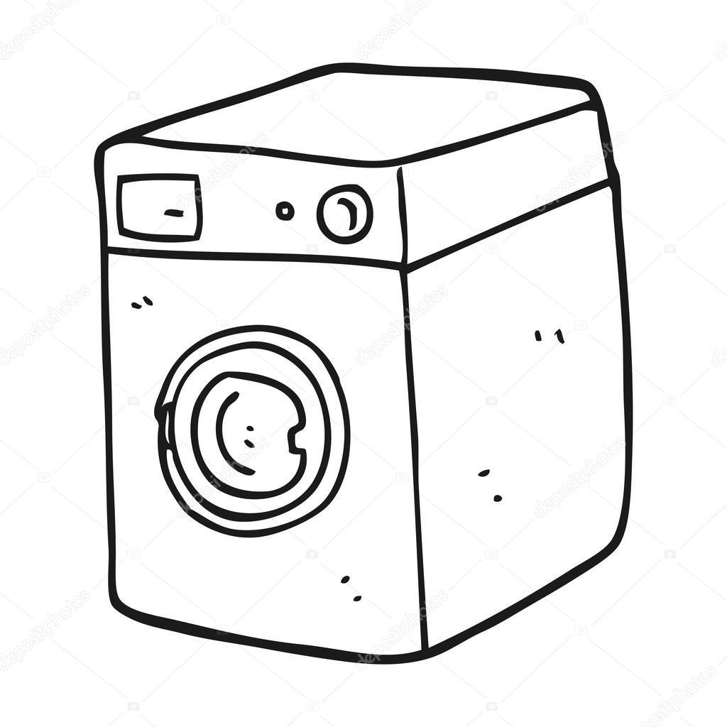 1024x1024 Black And White Cartoon Washing Machine Stock Vector