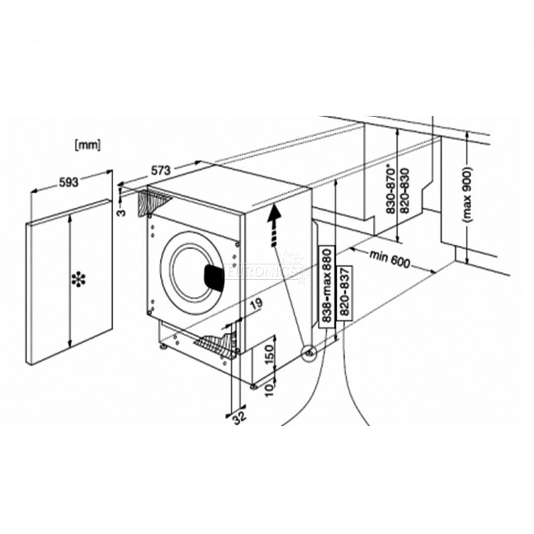 1080x1080 Built In Washing Machine Whirlpool (7kg), Awoc0714
