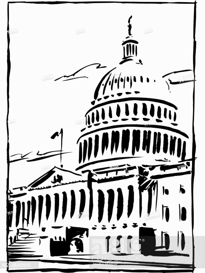 699x931 A Black And White Drawing Of The Capitol Building In Washington Dc