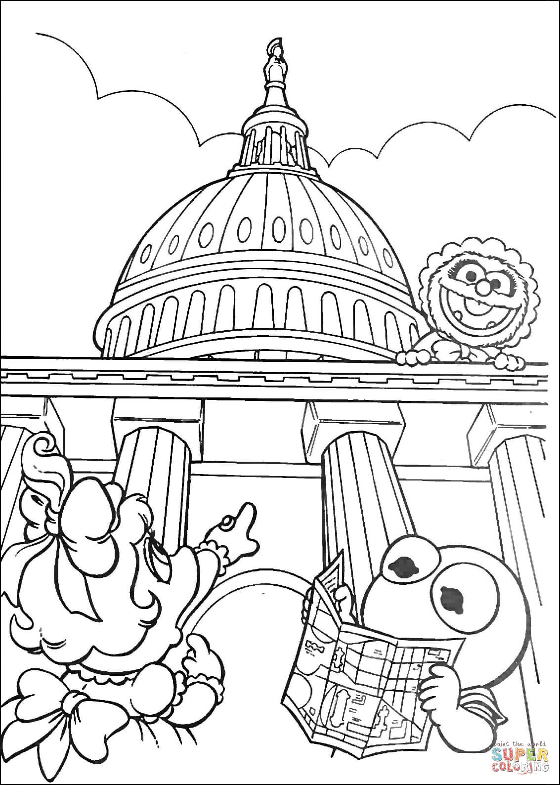 1133x1588 Muppet Babies In Washington D.c. Coloring Page Free Printable