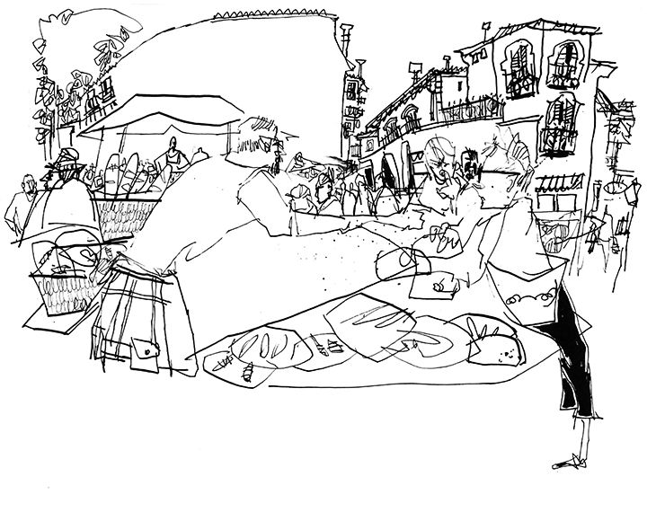 720x580 Dancing Lines Ink Drawing On Location, People, Places And Things