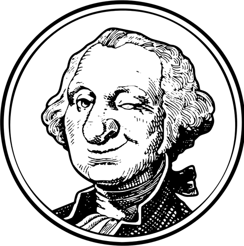 496x500 Vector Drawing Of Winking George Washington Public Domain Vectors