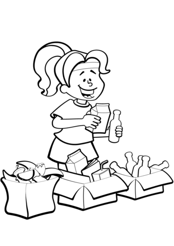 339x480 Woman Is Sorting Garbage For Recycling Coloring Page Free