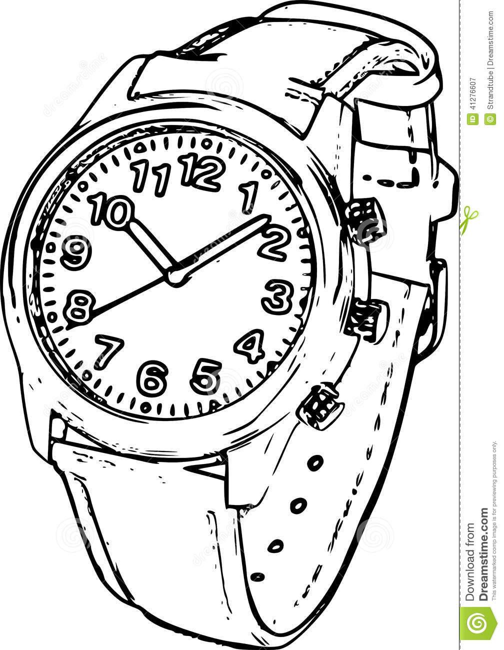 1008x1300 Line Drawing Wrist Watch Watch Technical Drawing