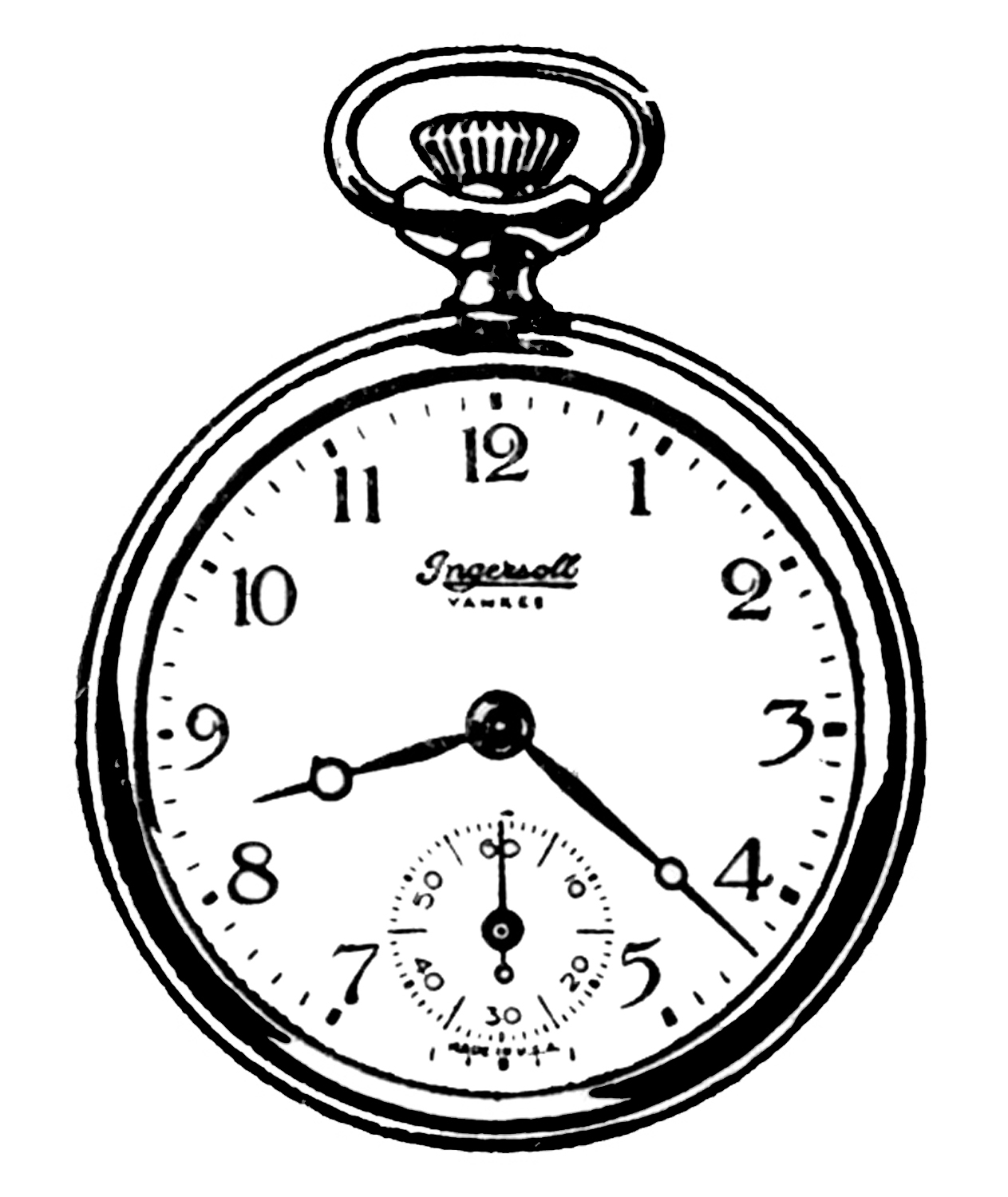 1263x1500 Pocket Watch Line Drawing July 2013 What A Fox Paint Print