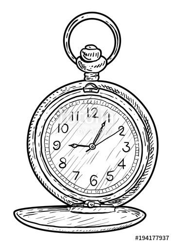 354x500 Pocket Clock Illustration, Drawing, Engraving, Ink, Line Art