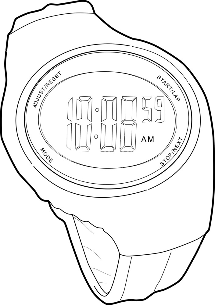 705x1000 Sports Watch Line Drawing Royalty Free Stock Image