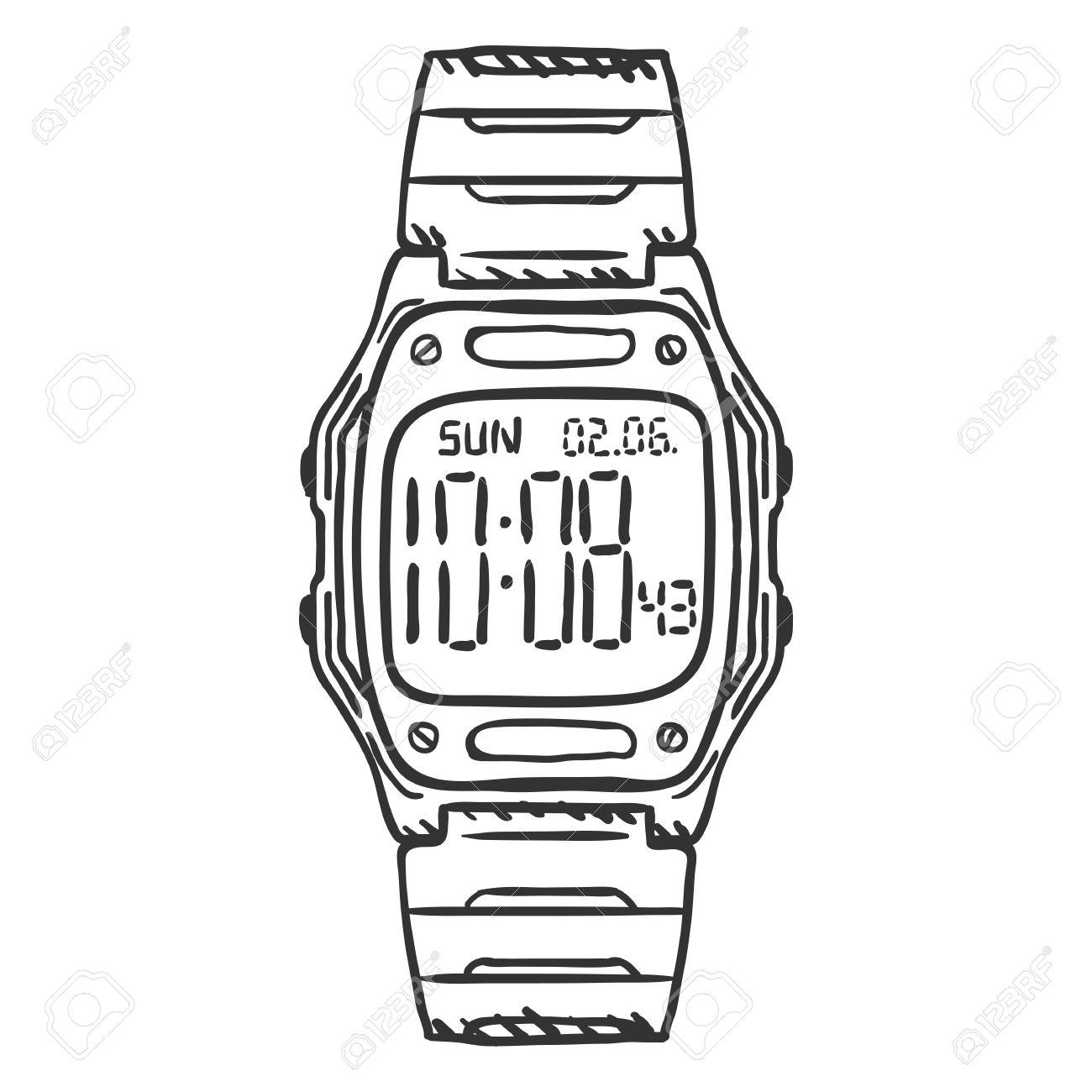 1300x1300 Vector Sketch Classic Digital Wrist Watch On White Background