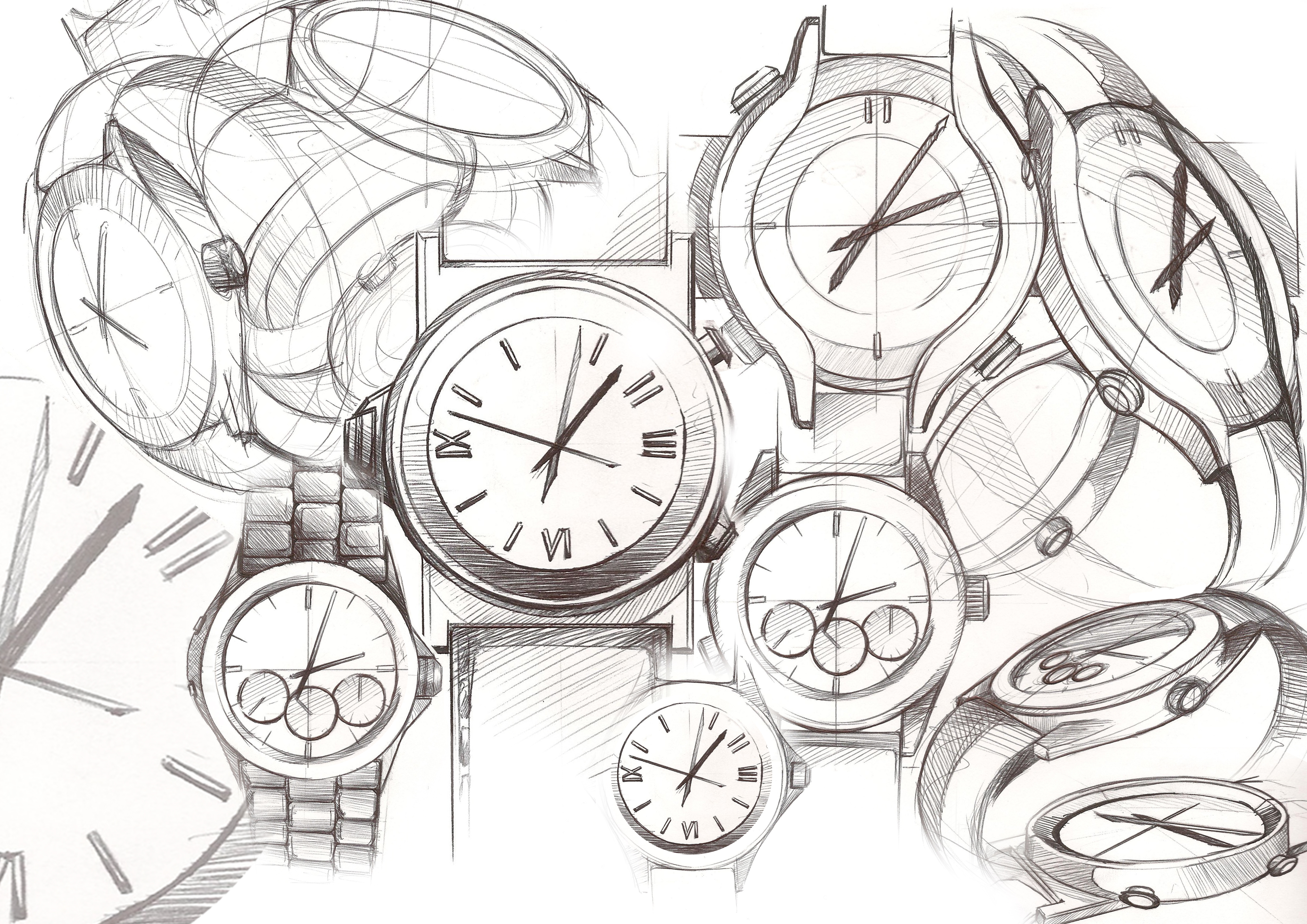 4961x3508 Watch Sketches Tik Tok Sketches, Product Sketch