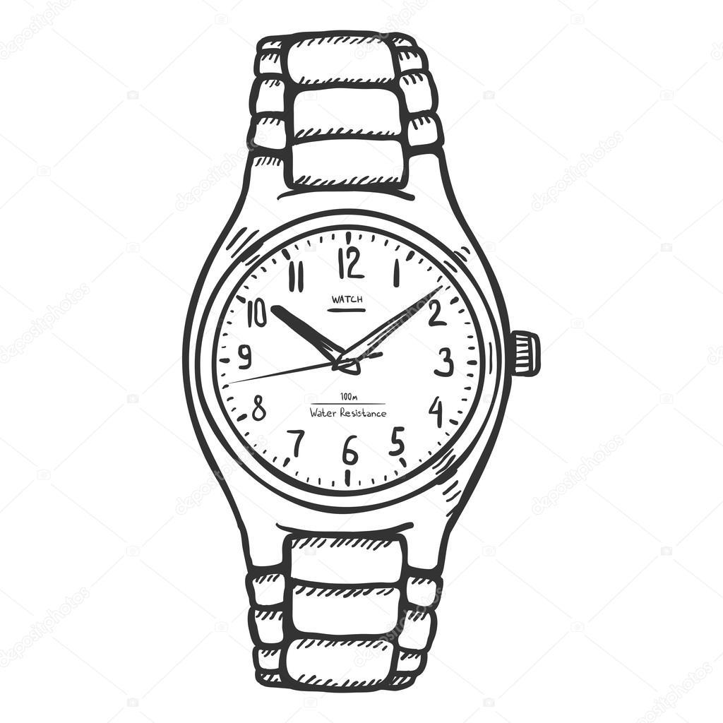 1024x1024 Wrist Watch Sketch Stock Vector Nikiteev