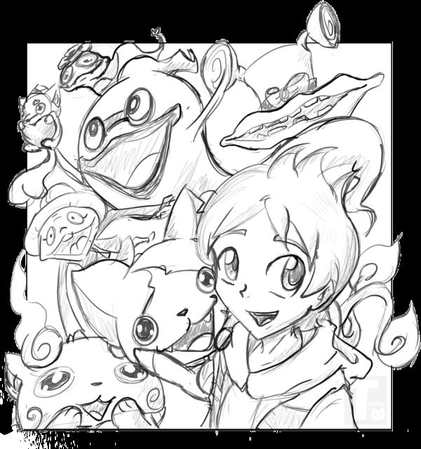 600x639 Yokai Watch Group Sketch By Tailzkip
