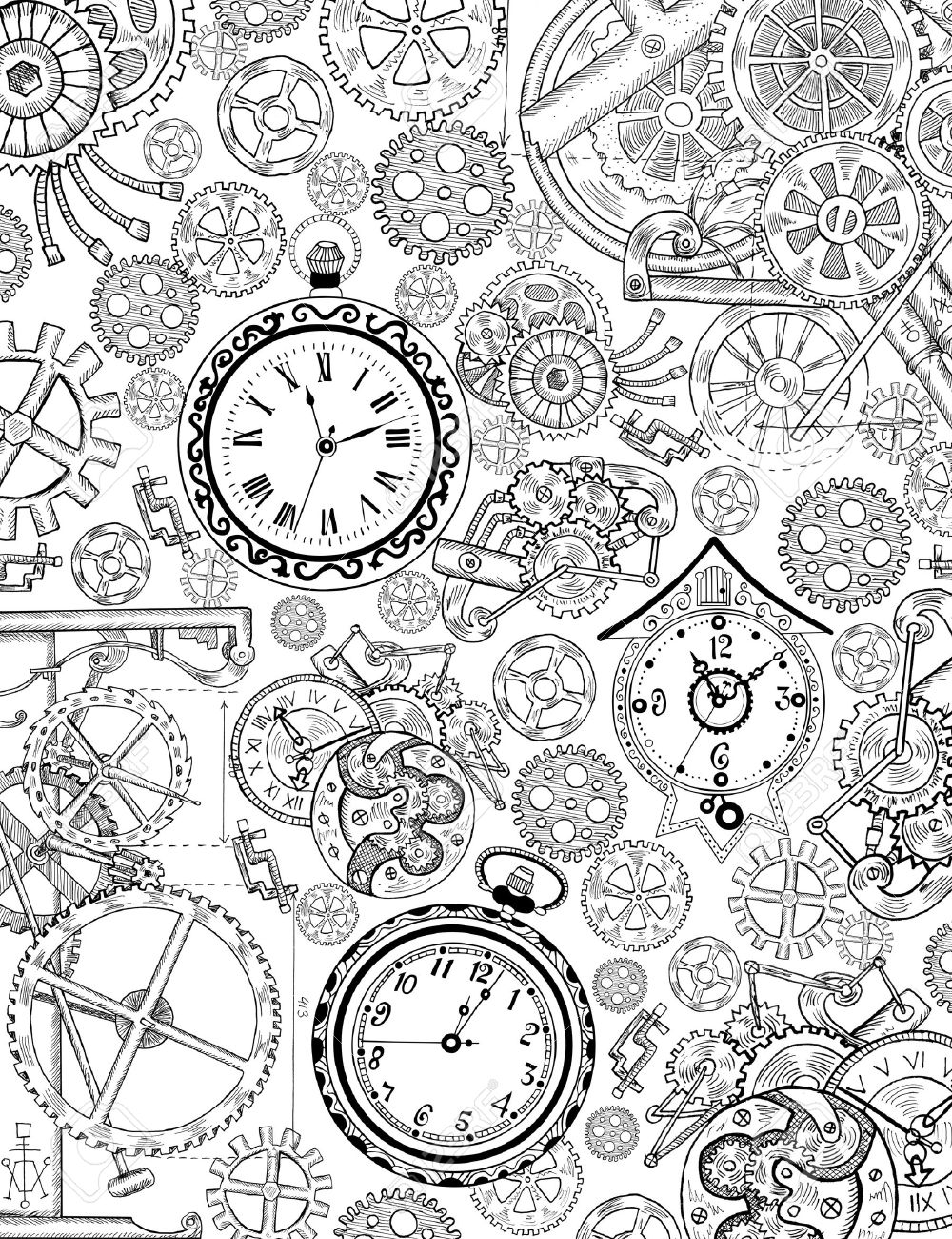 1000x1300 Coloring Book Page With Mechanical Details, Cogs, Gears And Old