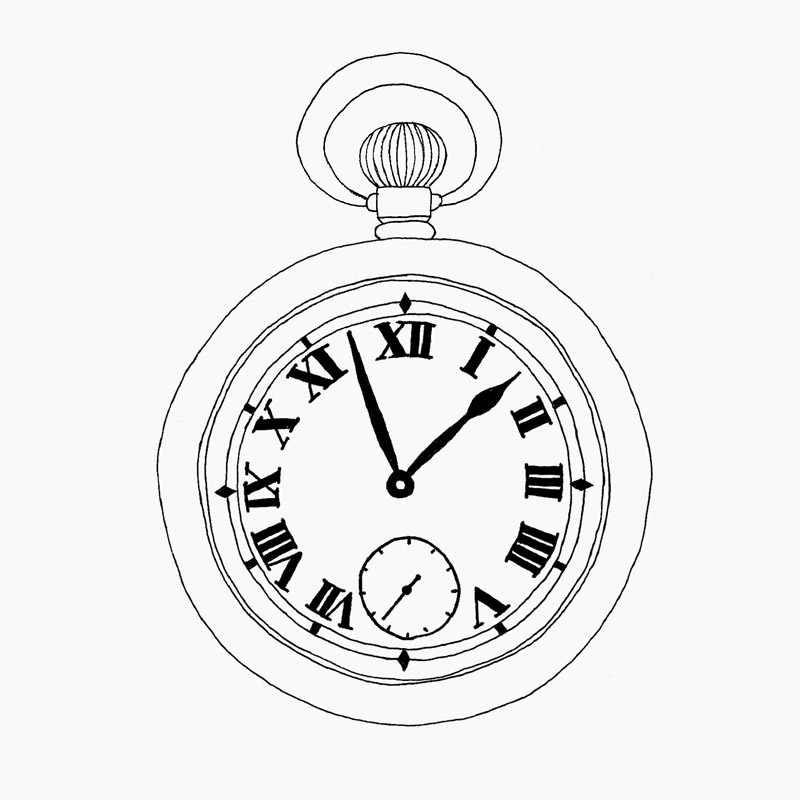 800x800 Drawn Pocket Watch Line Drawing